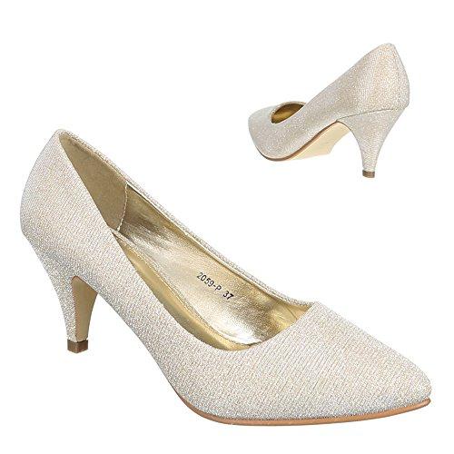 dorado mujer Design para Sintético Zapatos de de Material Dorado vestir Ital Svw4q4