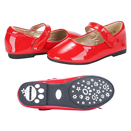 PANDANINJIA Girls Susie Red Party Wedding Ballerina Ballet Mary Janes Flats Dress Shoes (Toddler/Little Kid)]()