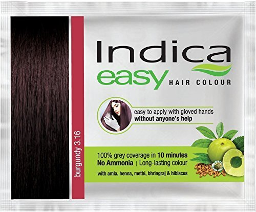 3 Pc Indica Easy10 Minutes Herbal Hair Color Shampoo Base Burgundy Herbs
