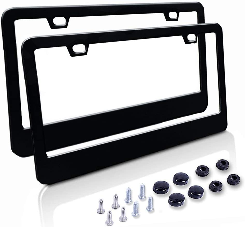 Car License Plate Frame - Matte Stainless Steel License Plate Covers with Free Screws Fasteners + Black Screw Caps (2 Pack-Black)