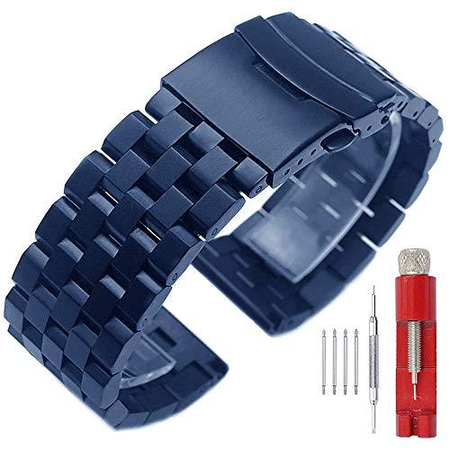 Fashion Blue 24mm Watch Band Stainless Steel Watch Bracelet for Men Metal Stylish Wrist Watch Strap