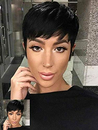Short Black Pixie Cuts Hair Synthetic Short