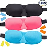 Sleep Mask for kids, Lightweight & Comfortable Super Soft 3D Contoured Eye Mask for Children, Women with Small Head, 3 Pack, Adjustable Strap Sleeping Mask for Travel, Nap, Night Blindfold Eyeshade
