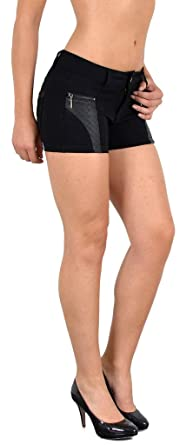 by-tex Damen Hotpants Damenshorts Leder Optik Hot - Pants Damen Shorts  kurze Hose H35 ff50e093cf