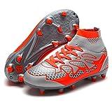 DREAM PAIRS Little Kid 160858-K Lt.Grey Orange Fashion Soccer Football Cleats Shoes Size 13 M US Little Kid
