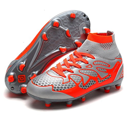 DREAM PAIRS Little Kid 160858-K Lt.Grey Orange Fashion Soccer Football Cleats Shoes Size 1 M US Little Kid