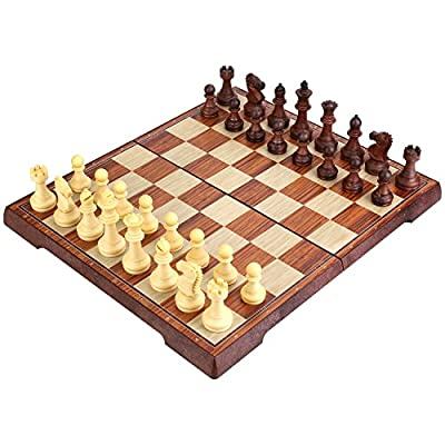 Peradix Chess Board Game Set with Magnetic Chess Backgammon Checkers Folding Storage Board Portable for Travel