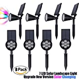 Solar Walkway Light Pathway Spotlight Lawn Colorful Landscape 7 LED lighting For Tree Garage Wall In-Ground Garden Outdoor Night Waterproof Security Path Patio Yard Driveway Floodlight 8 PACK Set