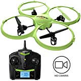 Force1 Drone with Video Camera 720p HD Camera Headless Mode 360° Flips UDI 818A HD drones for beginners Lime Green RC Quadcopter
