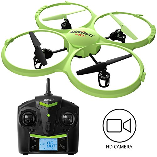 Force1 Drone with Video Camera 720p HD Camera Headless Mode 360° Flips UDI 818A HD drones for beginners Lime Green RC Quadcopter by Force1