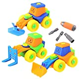 Dibang 3 Pcs Engineering Vehicles Assemble Disassemble Building Construction Puzzle Car Toy with Tools for 3 Year Old Boys