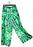 Hawaiian Floral Palazzo Pants Blue Widow Wedding Resort Beachwear M/L