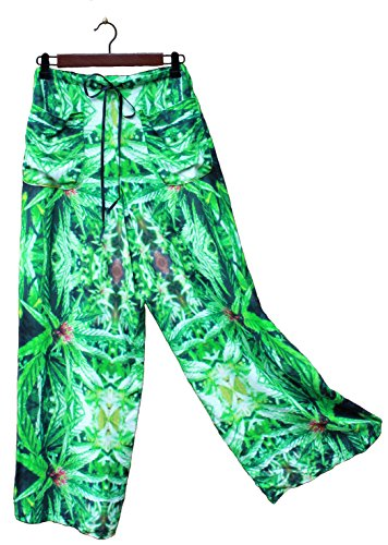 Hawaiian Floral Palazzo Pants Blue Widow Wedding Resort Beachwear XL/XXL by Cannaflage Designs
