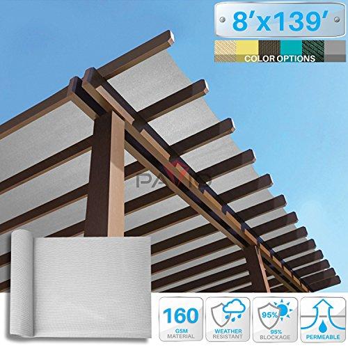 139' Light (Patio Paradise 8' x 139' Sunblock Shade Cloth Roll,Light Grey Sun Shade Fabric 95%UV Resistant Mesh Netting Cover for Outdoor,Backyard,Plant,Greenhouse,Barn)