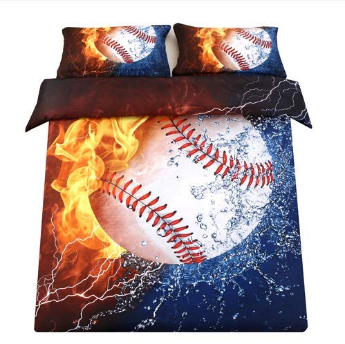 SDIII 3PC Baseball Bedding Microfiber Full/Queen Sport Duvet Cover Set for Boys, Girls and Teens Reversible Color Design