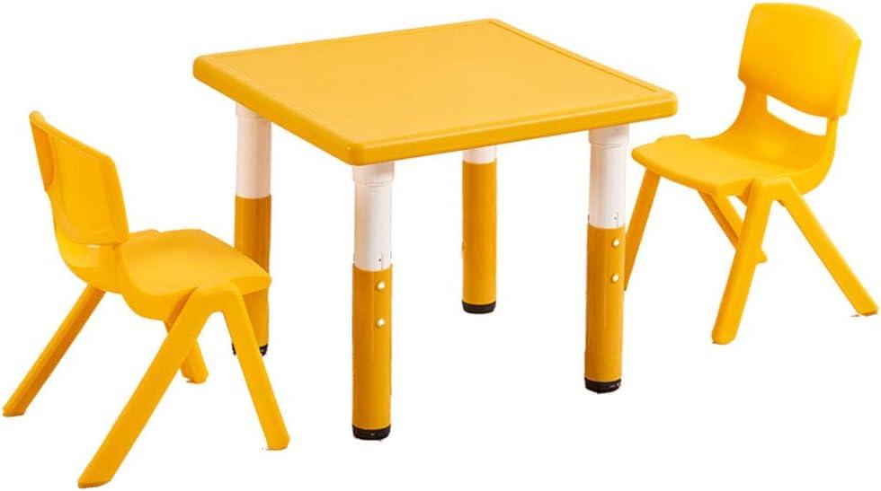 juego de mesa y silla Mesa Cuadrada de plástico Amarillo, niños de jardín de Infantes, Mesa de Juguete para bebé/Mesa de Juego/Mesa de Pintura, Silla de plástico con Respaldo: Amazon.es: Hogar
