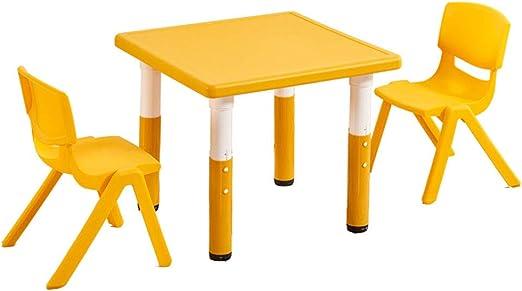 juego de mesa y silla Mesa Cuadrada de plástico Amarillo, niños de ...