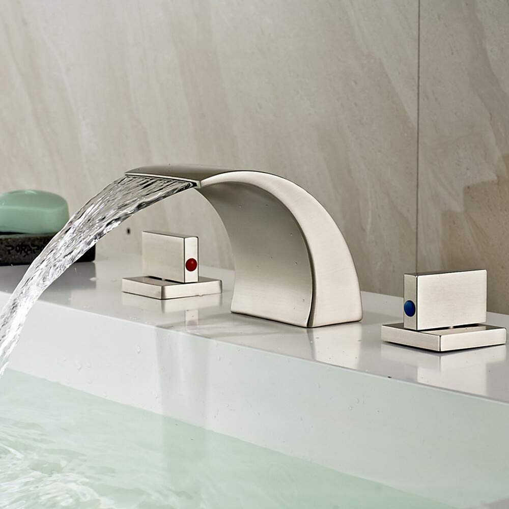 2 Contemporary Widespread Waterfall Ceramic Valve Two Handles Three Holes Nickel Brushed, Bathroom Sink Faucet,2,2