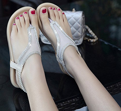 Sandales Paillettes Mesh Femme Confortable Aisun Blanc Flops wqRX4n0H