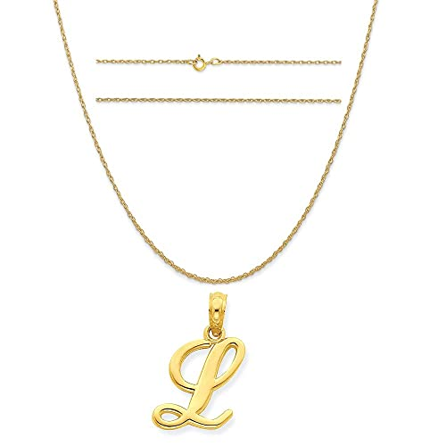 K/&C 10k Yellow Gold Love in Heart Charm on a 14K Yellow Gold Carded Rope Chain Necklace