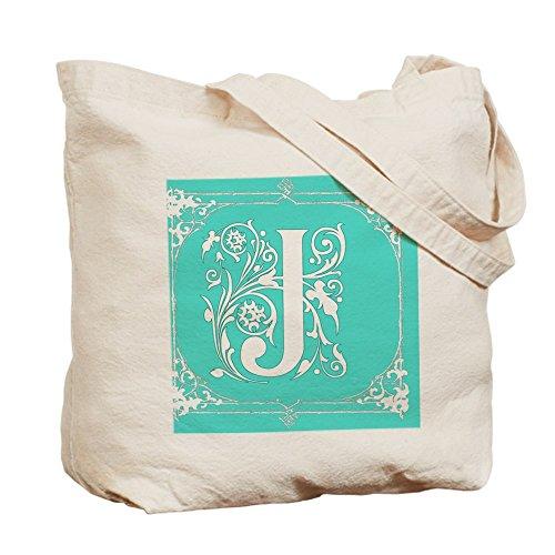 CafePress–Fancy Seafoam Bordüre grün Initiale J–Leinwand Natur Tasche, Reinigungstuch Einkaufstasche Tote S khaki