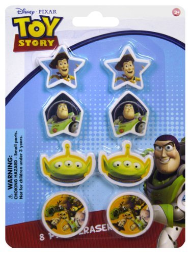 (Toy Story Erasers - Set of 8 Toy Story Erasers with 4 different Designs - 8 Pack Erasers)