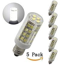 Bqhy®E11 Dimmable Mini Candelabra E11 Base T4 JD 110V LED Halogen Replacement Bulb, 5W, 50W Equivalent, White 6000K, 5-Pack
