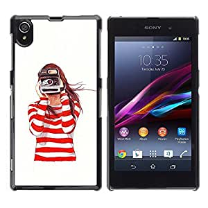 Impact Case Cover with Art Pattern Designs FOR Sony Xperia Z1 L39 Camera Redhead Girl White Betty shop