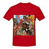 Santana Abraxas Rock Men Crew Neck Casual Shirts Red