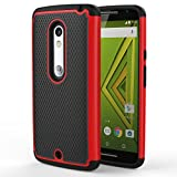 Motorola Moto X Play / DROID Maxx 2 Case, MoKo [Shock Absorption] Slim Dual Layer Protective Case with Soft Silicone Bumper and Rigid PC Back Cover for Motorola Droid Maxx 2 / Moto X Play - Red
