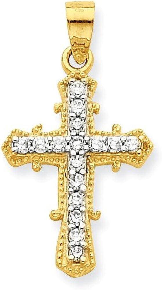 Quality Cross Pendant 25x19 mm Solid 10k Yellow Gold CZ Cubic Zirconia AAA
