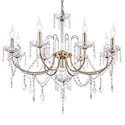 Crystal Chandeliers Fixture with Adjustable Height