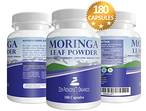 2 Pack (360 Capsules) Organic Moringa Oleifera, Ultra-Premium. Provides an All Natural Energy Boost and Multi-Vitamin. A Raw Superfood, Vegan, No GMO and Gluten Free Review