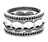 Harley-Davidson Womens Willie G Skull with Black Stones Stacking Ring