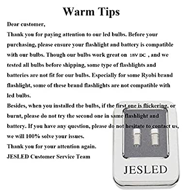 JESLED High Power LED Upgrade Bulb 3W 247LM PR2 P13.5S LED Flashlight Bulbs Replacement for DEWALT Flashlight Torch Tooling Lantern Work Light Maglite LED Conversion Kit