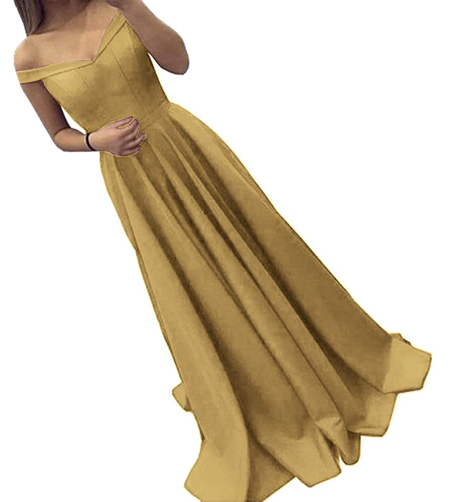 gold Dressylady Off The Shoulder A Line Long Prom Homecoming Dress Evening Gowns