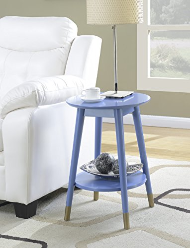 Cabinet Round Table End (Convenience Concepts Wilson Mid-Century Round End Table with Bottom Shelf, Blue)
