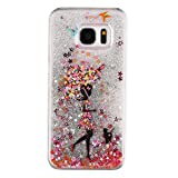 S7 Case, Galaxy S7 Case, Rosepark(TM) Creative Design Glitter Quicksand Floating Bling Sparkle Flowing Liquid Hard Case Cover for Samsung Galaxy S7(Umbrella Girl /Silver),with Stylus