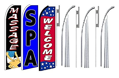 Pool /& Spa Service Supply Windless Stay Open Large Swooper Flag Flutter Flag Bow Flag Feather Flag Advertising Banner Sail Complete Kit includes Flag Pole Set and Heavy Duty Metal Ground Spike.