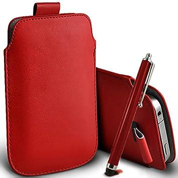Digi Pig - Vodafone Smart 4 Mini Turbo color PU piel funda con pestaña funda y larga lápiz capacitivo pantalla táctil capacitiva Bolígrafo - Rojo: ...