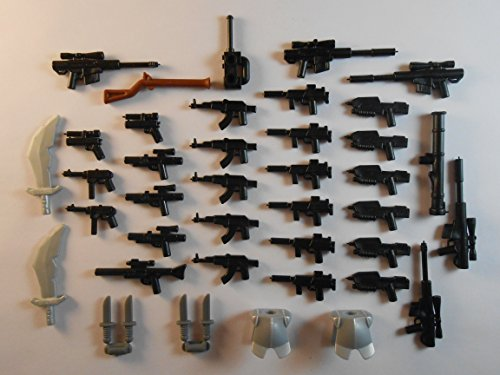 39 Guns for Lego Mini Figures. New. Knifes Trooper Halo Star Wars City -