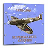 3D Rose Supermarine Spitfire. British Royal Air Force Fighter WW2 in Battle Colors Wall Clock, 10' x 10'