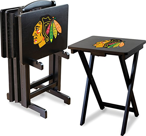 Imperial Officially Licensed NHL Merchandise: Foldable Wood TV Tray Table Set with Stand, Chicago Blackhawks
