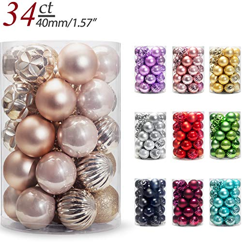 AMS Christmas Ball Mini Ornaments Party Decoration Shatterproof Festival Widgets Pendant Hanging Pack of 34pcs (40mm,Champagne)