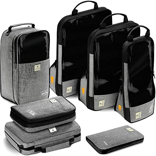 VASCO Travel Packing Cubes Set: Waterproof Travel Packing Organizer Set Of 3 Compression Cubes + Travel Shoes Bag + Hanging Toiletry Bag + Electronics Cube + Travel RFID Wallet| Top Travel Gear Kit