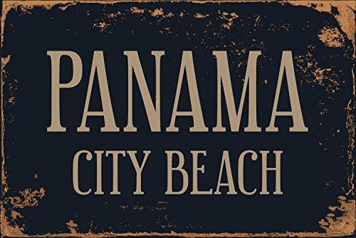 "Panama City Beach 8"" x 12"" Vintage Aluminum Retro Metal Sign VS502 (City Panama Beach Decor Beach)"