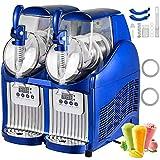 VEVOR Slushy Machine 110V Mini Slush Frozen Drink Machine Commercial Smoothie Maker Slushy Making Machine Suitable for Commercial Use (2.5L*2Tank, Blue)