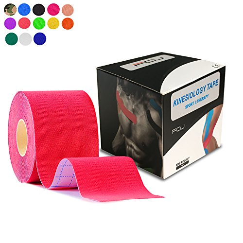 Kinesiology Theraeputic Tape Physio For Athletic Sports Recovery Pain Relieve Strong Adhesion Waterproof Original Cotton Uncut 2 Inch x 16.4 Feet (Red)