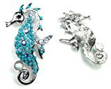 Blue Color Austrian Rhinestone & Beads Sea Horse Design Silver-Tone Brooch Pin