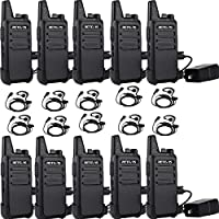 Retevis RT22 Two Way Radio License-free Vox Walkie Talkies with Professional C-type Earpieces (10 Pack)